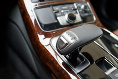 Automatic gear shift handle. Luxury car interior Stock Photography