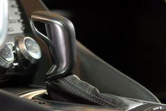 Automatic gear shift handle. Luxury car interior royalty free stock image