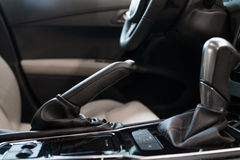 Automatic gear shift handle. Luxury sport car interior stock images