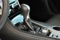 Automatic gear shift. Automatic selector lever in the passenger car stock photo