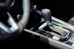 Automatic gear stick of a modern car stock photos