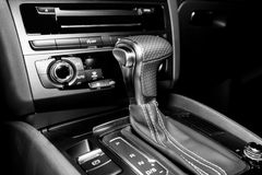Automatic gearshift in sport car Royalty Free Stock Image