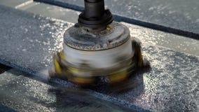 Automatic Granite Polishing Machine stock video footage