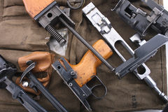 Automatic gun background. Parts of automatic gun as nice army background Stock Photos