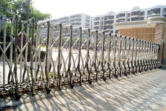 Automatic iron gate. At the school gate. This is a security gate stock image