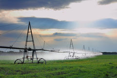 Automatic irrigation of agriculture field. Landscape with automatic irrigation of agriculture field Royalty Free Stock Photo