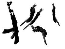 Automatic Kalashnikov guns. An illustration of an isolated automatic kalashnikov rifle. AK47. gray Stock Photos