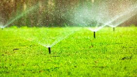 Automatic lawn sprinkler watering green grass. Sprinkler with automatic system. Garden irrigation system watering lawn. Water stock image
