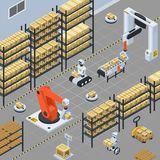 Automatic Logistics  Delivery Isometric Background. Automatic logistics solutions in warehouse facility isometric background with robotic arm gripping and Stock Photos