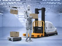 Automatic machine in warehouse. 3d rendering automatic forklift with warehouse robot and drone in factory stock illustration
