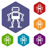 Automatic mechanism icons set hexagon Royalty Free Stock Image