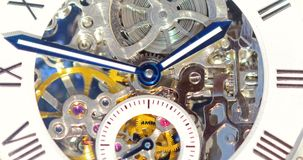 Automatic Men Watch With Visible Mechanism. Close Up stock video footage