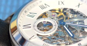 Automatic Men Watch With Visible Mechanism. Close Up stock video