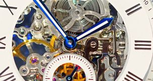 Automatic Men Watch With Visible Mechanism. Close Up stock footage
