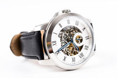 Automatic Men Watch With Visible Mechanism Stock Photography