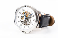 Automatic Men Watch With Visible Mechanism Royalty Free Stock Photography