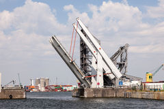 Automatic movable bridge at the harbor of Antwerp Stock Photography