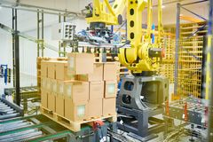 Packaging Machine at Work royalty free stock photos