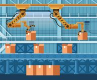 Automatic Packing Conveyor Lifting Parcel, Box. Mechanical Robot Arm Crane Manufacture Technology. Yellow Grip Robotic Claw Packaging Warehouse Freight. Flat royalty free illustration