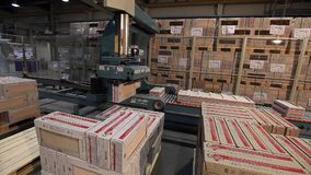 Automatic packing of products in boxes on the conveyor, close-up, packing of ceramic tiles, conveyor, modern factory. Automatic packing of production in boxes on stock video