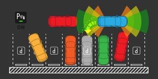 Automatic parking assist system vector illustration. Car technology with parktronic sensors line art concept. Smart car assistance autopilot outline graphic stock illustration