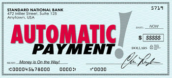 Automatic Payment Money Check Sent Software Program System. Automatic Payment words on a check or money sent to you without ordering or asking for it Stock Photo