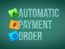 Automatic payment order post memo chalkboard sign Stock Images