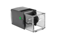 Automatic plastic hand stamp square shape. With the green button. Royalty Free Stock Photography