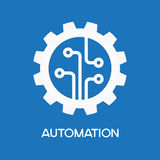 Automatic process icon. Gear with chip. Flat design style. White symbol on a blue background. White symbol on a blue background. The concept of automatic process vector illustration