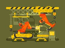 Automatic production using robotics. Production factory automation equipment, vector illustration vector illustration