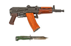 Automatic rifle AKS-74U and knife. Personal small arms special forces soldier Stock Image