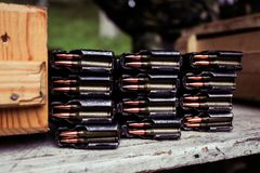 Automatic rifle cartridge with bullets Stock Photography