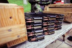 Automatic rifle cartridge with bullets Stock Photo