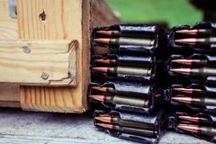 Automatic rifle cartridge with bullets Royalty Free Stock Photos