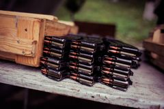 Automatic rifle cartridge with bullets Royalty Free Stock Images