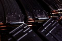 Automatic rifle cartridge with bullets Royalty Free Stock Image