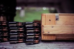 Automatic rifle cartridge with bullets Royalty Free Stock Photography