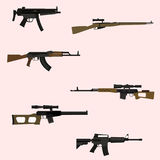 Automatic rifle. Firearm set. Automatic rifle machine gun stock illustration