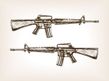 Automatic rifle hand drawn sketch vector Royalty Free Stock Images