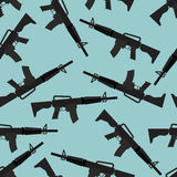 Automatic rifle M16 seamless pattern. Arms on blue background.  Stock Image