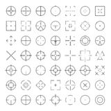 Automatic rifle sniper scope crosshairs thinline icon set. AR Collimator sight glyphs. Military war gun aim silhouettes.  stock illustration