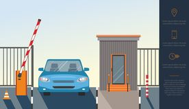 Automatic Rising Up Barrier, automatic system gate for security and blue car. vector illustration