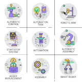 Automatic Robot Machinery Industrial Automation Industry Production Icon Set. Vector Illustration vector illustration