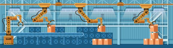 Automatic Robotic Claw Conveyor Boxing Parcel. Yellow Grip Robot Arm Crane Packing Box. Warehouse Packaging Technology. Manufacture Storage Equipment. Flat stock illustration