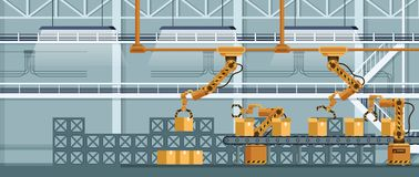 Automatic Robotic Claw Conveyor Packing Freight. Yellow Grip Robot Arm Crane Boxing Cargo. Machine Tool Manufacture Technology. Warehouse Business. Flat stock illustration