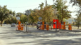 Automatic security barrier at parking in International Airport Volgograd. Volgograd, Russian Federation - September 27, 2015: Automatic security barrier at stock video footage