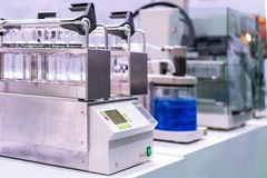 Automatic shaking or mixing machine for process incubation solution element check analysis or research for chemical experiment for stock photos
