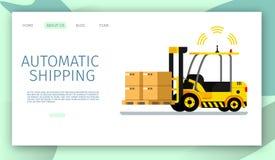 Automatic Shipping Car Lifting Warehouse Cargo Up vector illustration