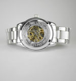 Automatic skeleton wrist watch. Unisex automatic skeleton wrist watch. focus on the engine part Royalty Free Stock Image