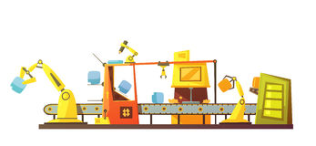 Automatic Stock Line Retro Cartoon Banner Stock Photography